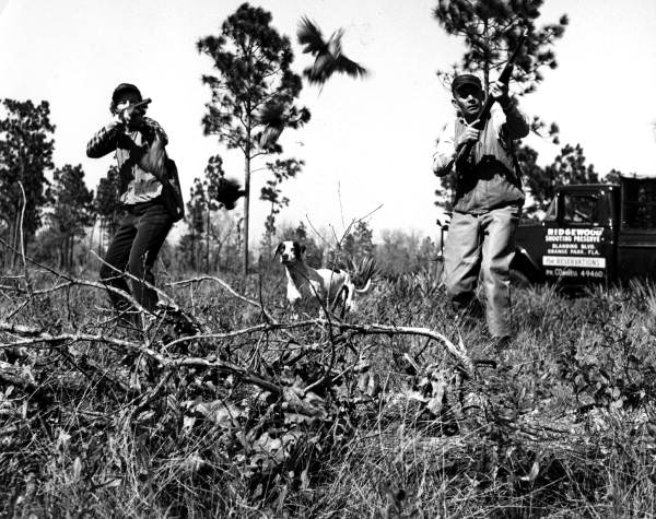 Two hunters with a hunting dog