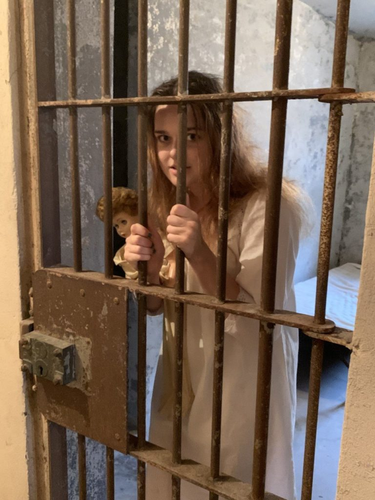Reenactment Woman in jail cell